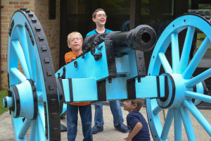 Sons #1-3 take charge of a cannon at Horseshoe Bend National Military Park.